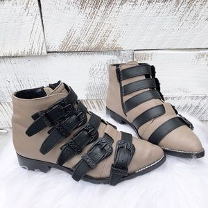 Topshop Strappy Ankle Moto Boots with Buckles